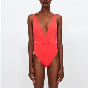 ZARA NWT crossover neckline one-piece swimsuit